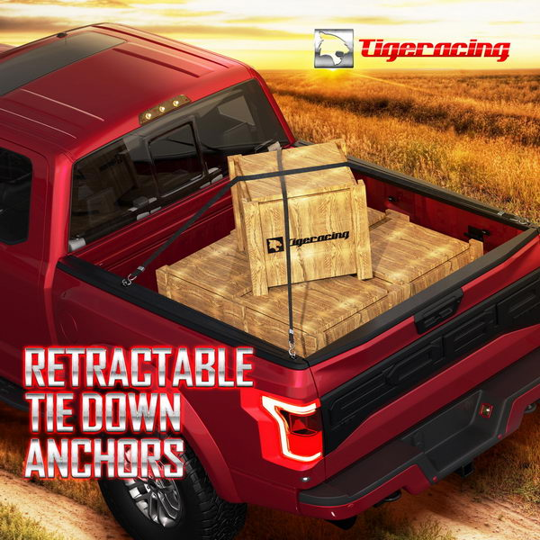 Tigeracing Tie Down Anchors Retractable Truck Bed Side Wall D Ring for 98-2012 Ford Ranger 98-2016 Ford Super Duty of 4 98-2014 Ford F150 3000 LBS Capacity